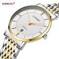 2017 vendedor caliente longbo marca de moda de negocios clásico de negocios relojes de cuarzo fecha calendario relojes para hombre 5002