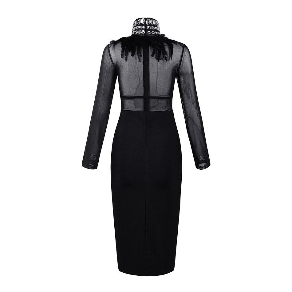 Manches Col Maille Robe Diamant Longues Mode Chaude Haut Plume Luxe Couture Celebrity Bandage Sexy De Noir Party W0zWPATnq