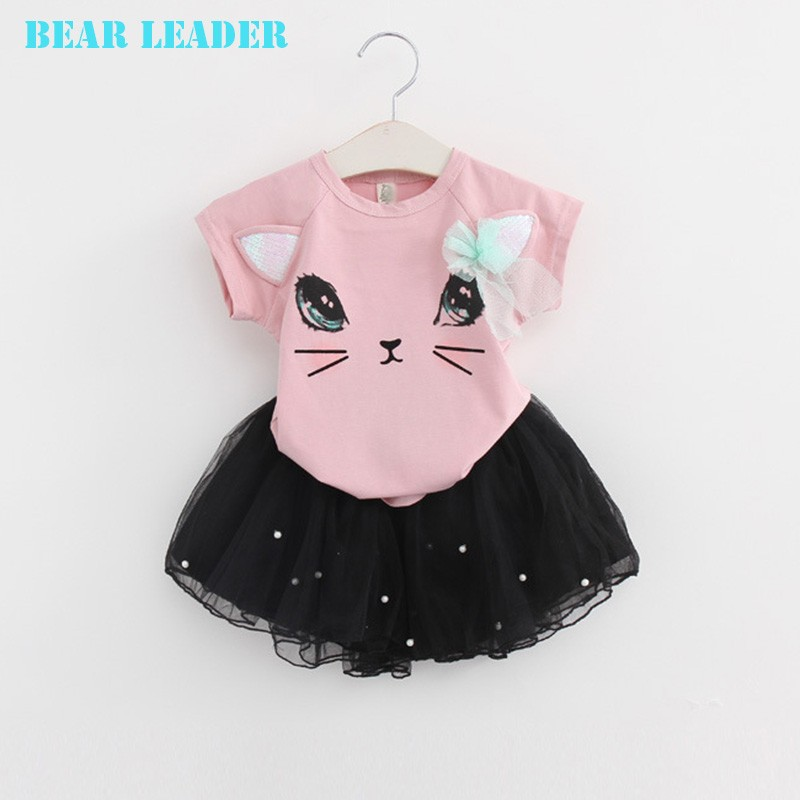 Bear Leader Girls Clothing Sets New Summer Fashion Style Cartoon Kitten Printed T-Shirts+Net Veil Dress 2Pcs Girls Clothes Sets 43