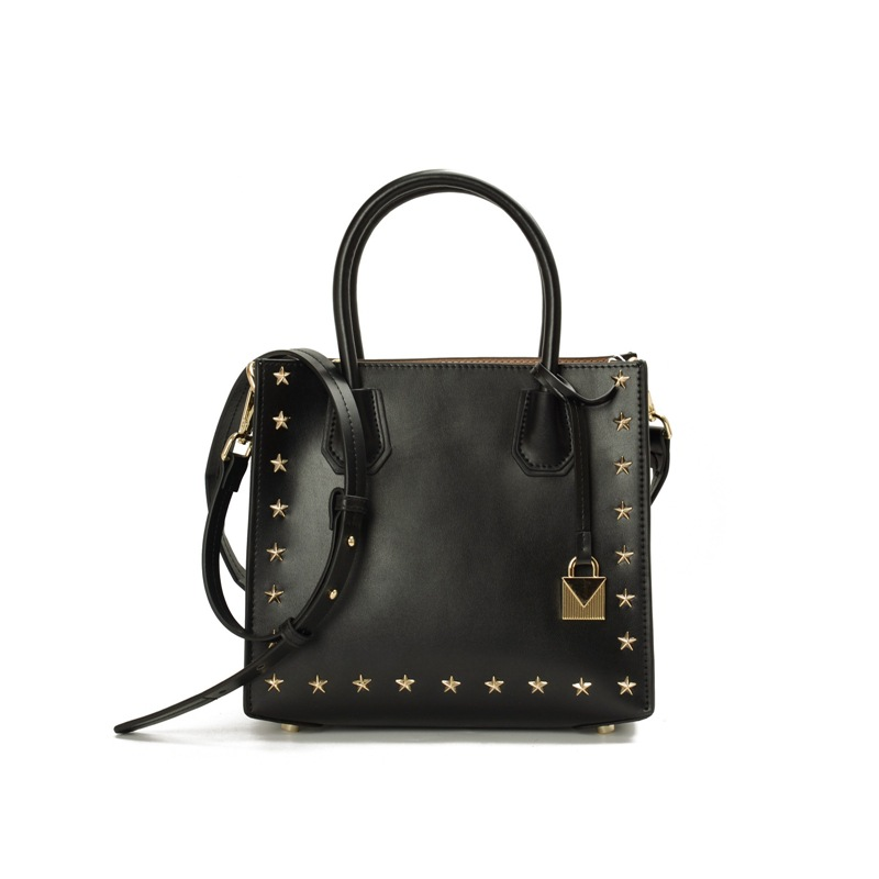 2017 Autumn New Famous Brand Design Women 100% Genuine Leather Tote Star Rivet Ladies Classic Shoulder Bag Sac a main