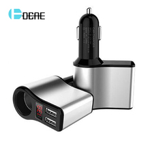 DCAE 5V/3.1A Universal LED Dual USB Car Charger for iPhone X 8 7 6 Xiaomi Samsung s8 Alloy Car Lighter Slot Mobile Phone Charger