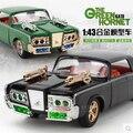 2016 Nuevo envío Rápido y Furioso Del Avispón Verde Coche 1:43 Chrysler Imperial niños de juguete tire hacia atrás de sonido luz Colección Bruce Lee coches