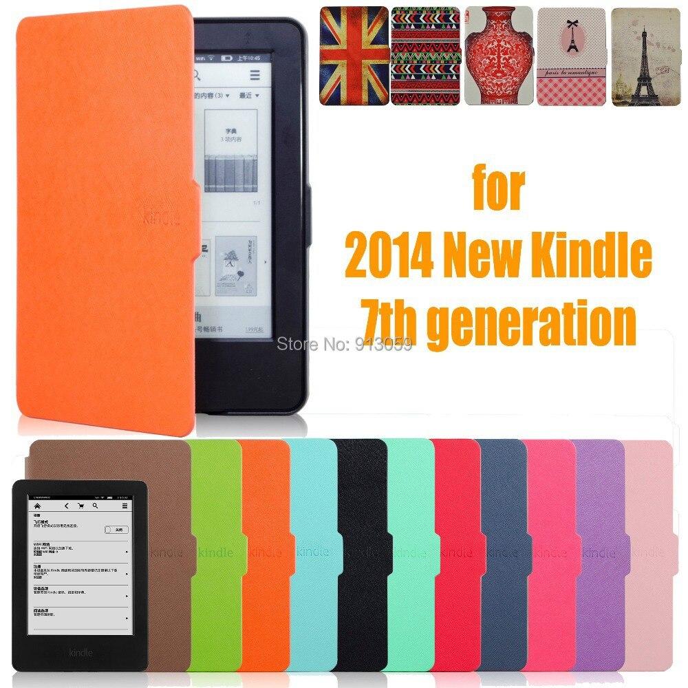 Para Amazon 2014 nuevo Kindle pantalla táctil 7 7th generación 6 ''eReader Slim cubierta protectora elegante del caso protector + stylus