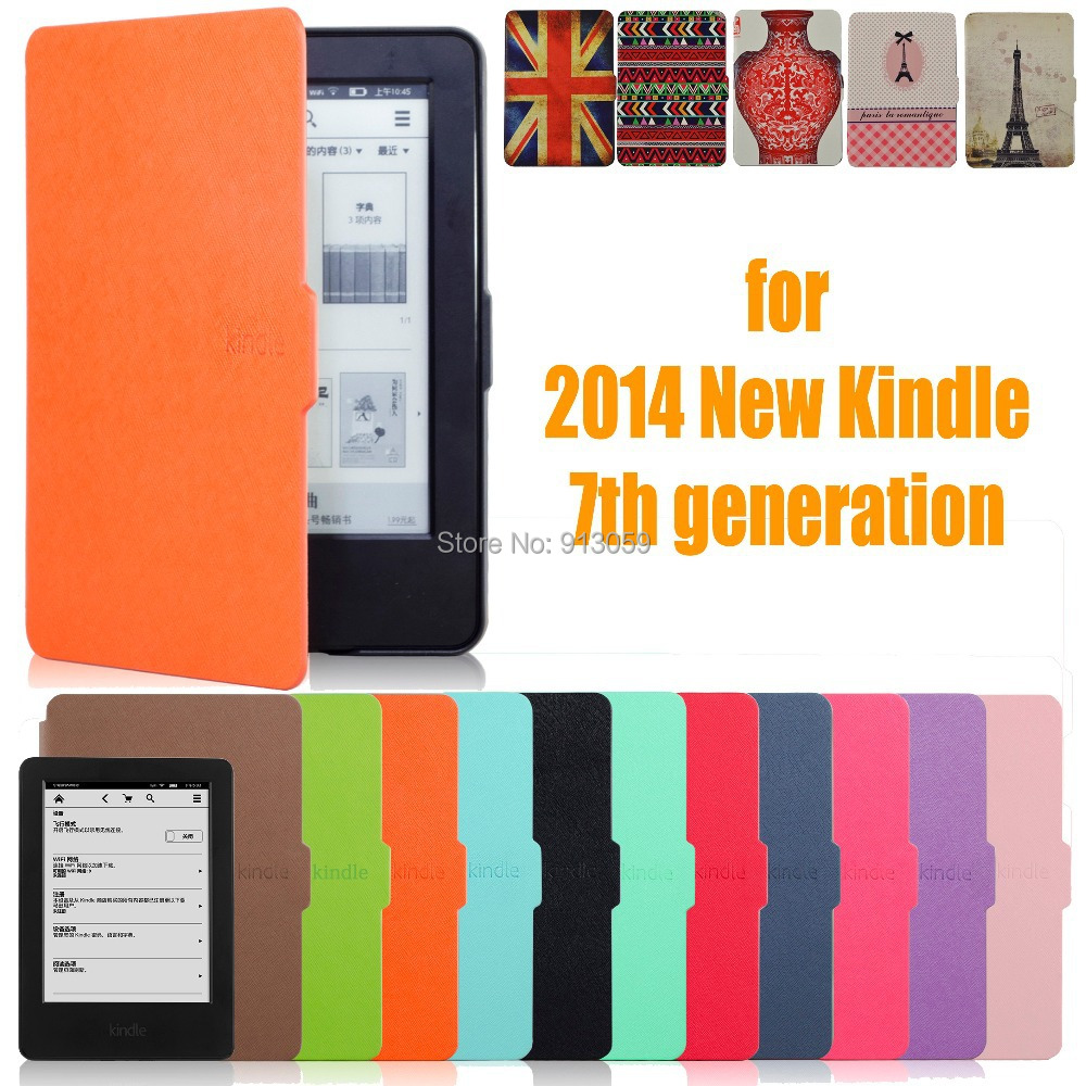 for amazon 2014 new kindle screen 7 7th generation 6'' ereader slim protective cover smart case+protector film+stylus