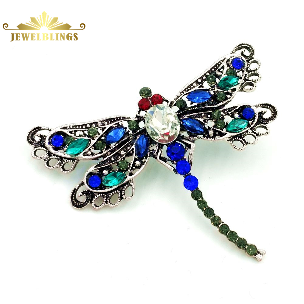 ̿̿̿(•̪ )Filigrana Vintage Verde y Azul de Cristal Libélula Broches ...