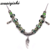 2019 latest necklace gift simple female new pendant fashion green wings retro chain ladies charm hot beaded