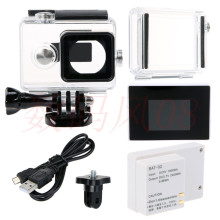 Waterproof Housing Case+Expand Case Cover+LCD Screen Display+External BacPac Battery For Xiaomi yi Action camera accessories