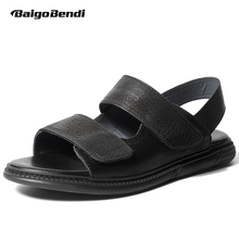 New Arrival Real Leather Mens Hook Loop Sandals Rome Style Man Beach Summer Breathable Casual Shoes Open Toe Soft недорого