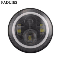 FADUIES 7 Round LED Daymaker Projectior Headlight For Harley Motorcycle 7 Inch Black Led Headlamp With