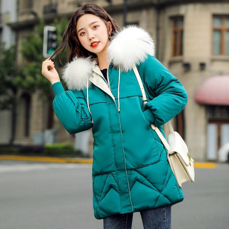 Зимнее пальто женские черные зеленые бежевые Большие размеры свободные парки с капюшоном с перьями 19 новые корейские модные желтые толстые термокуртка CX987