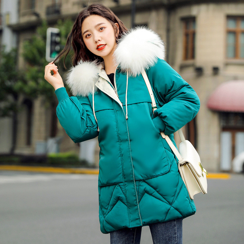 Winter Coat Women Black Green Beige Plus Size Loose Feather Hooded   Parkas   19 New Korean Fashion Yellow Thick Warmth Jacket CX987