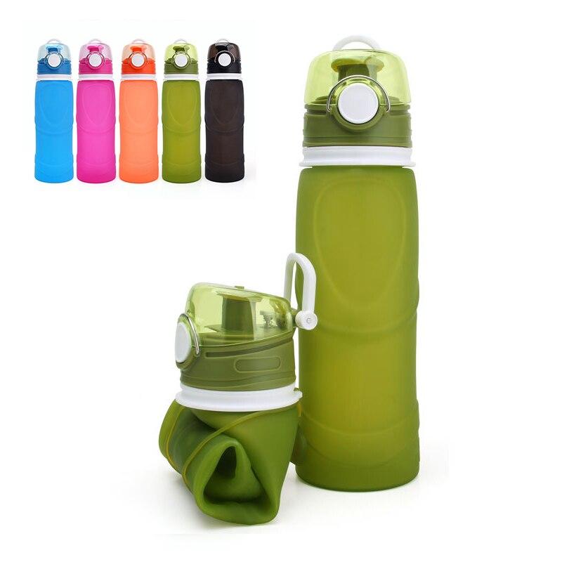 Botella De Agua plegable De 750 ML, Botella De bebida De silicona portátil, botellas De Agua deportiva para exteriores, Botella De viaje, Botella De Agua