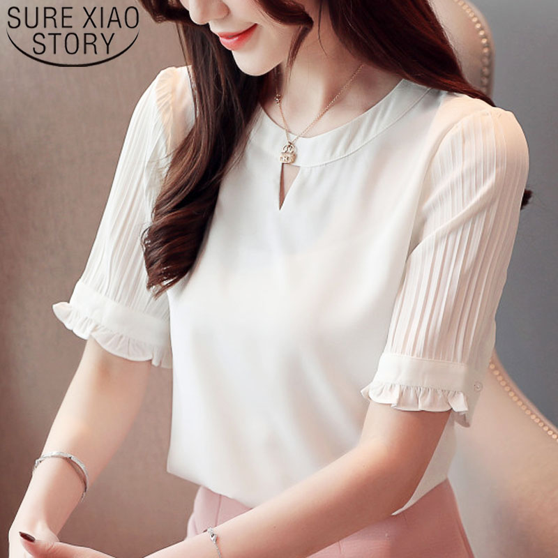 Fashion women tops and   blouse   2019 ladies tops chiffon   blouse     shirts   white   shirt     shirts   short sleeve   shirt   office lady 3947 50