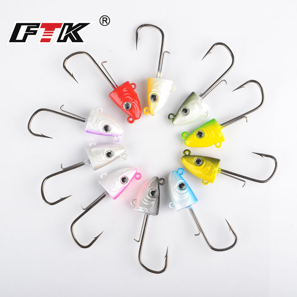 FTK Fishing Lure Black Minnow Lead Head Hook Bait Bass Soft Lure 2pcs/pack Jig Wobblers Artificial Fishing Tackle 8.5g/21g/36g hengjia 32pcs 3 5g fishing lure worm jighead hook for bass fishing hook soft bait artificial lure