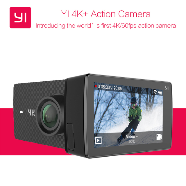 "YI 4K+ Action Camera Ambarella H2 SOC Cortex-A53 IMX377 4K/60fps 12MP CMOS 2.19""LDC RAM EIS WIFI International Edition Xiaomi yi"