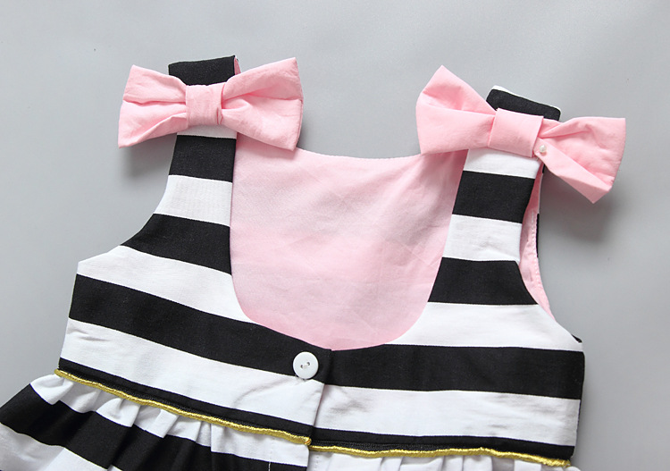 HTB1dU4 QpXXXXXYXFXXq6xXFXXX5 - Baby Girls Dress Summer 2017 Stripe Dress Baby Dressing for Party Holiday Black and White with Bow Kids Clothes Girls Cute Brand