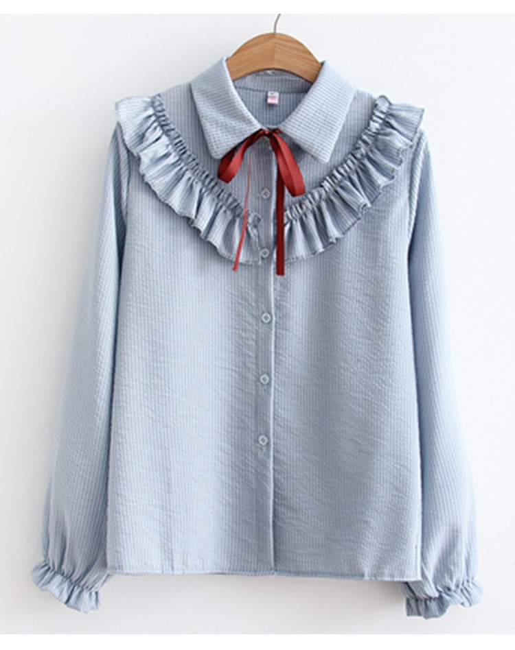 Ruffles Striped Bow Flare Long Sleeve Chiffon Blouse Shirt 8