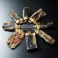 New !! Natural black tourmaline pendants,24k gold plated on edged pendant,mineral stone pendants (WT-P252)