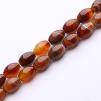 A Strand Natural Banded Agates Smooth Rice Beads 10x14mm15 Inches Long For DIY Jewelry Making