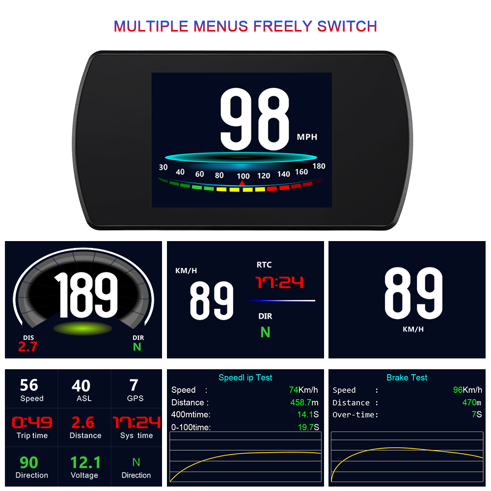 Image 3 - GEYIREN P12 Car OBD2 On Board Computer Multi Function OBD Digital Speed Meter RPM Gauge Auto Diagnostic Fault Code Tool-in Head-up Display from Automobiles & Motorcycles