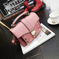 New 2017 women's fashion handbag  European and American style vintage bag The rivet latch cute bag Well-known designers flap bag