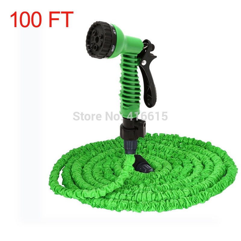 Retractable Expandable The Magic Water Watering Garden Hose 100FT <font><b>100</b></font> FT With Valve+ Spray Gun EU US image