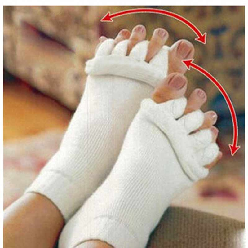 3Pairs Sleeping Health Foot Care Massage Toe Socks Five Fingers Toes Compression Treatment Toe Separator Socks Women Mens Sock