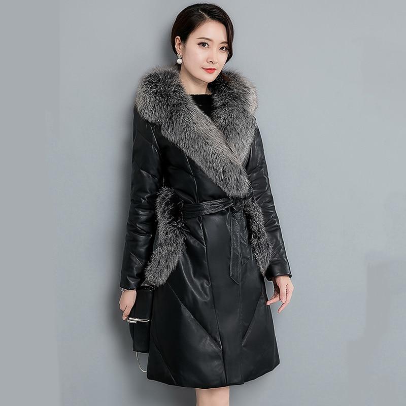 Women Winter Medium Long Faux   Leather   PU Jackets With Fur Collar Medium Long Thick Warm Coats Long Sleeve Elegant Outerwear OL
