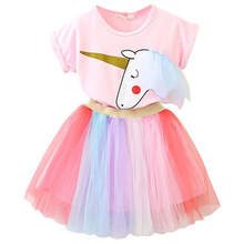 Hot sell new product rainbow unicorn cute girl tulle skirt and shirt summer clothing set