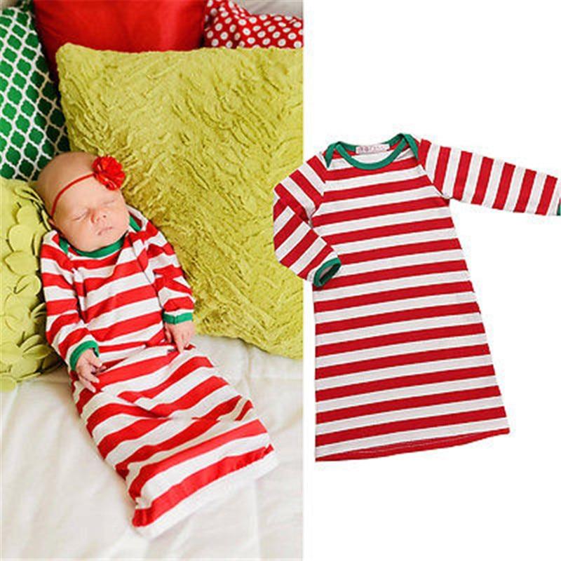 2017 Weihnachts Neugeborene Baby Girl Süße Rote Gestreifte Langarm Baumwolle Nachthemd Nachtwäsche Bademäntel Kleidung Auswahlmaterialien