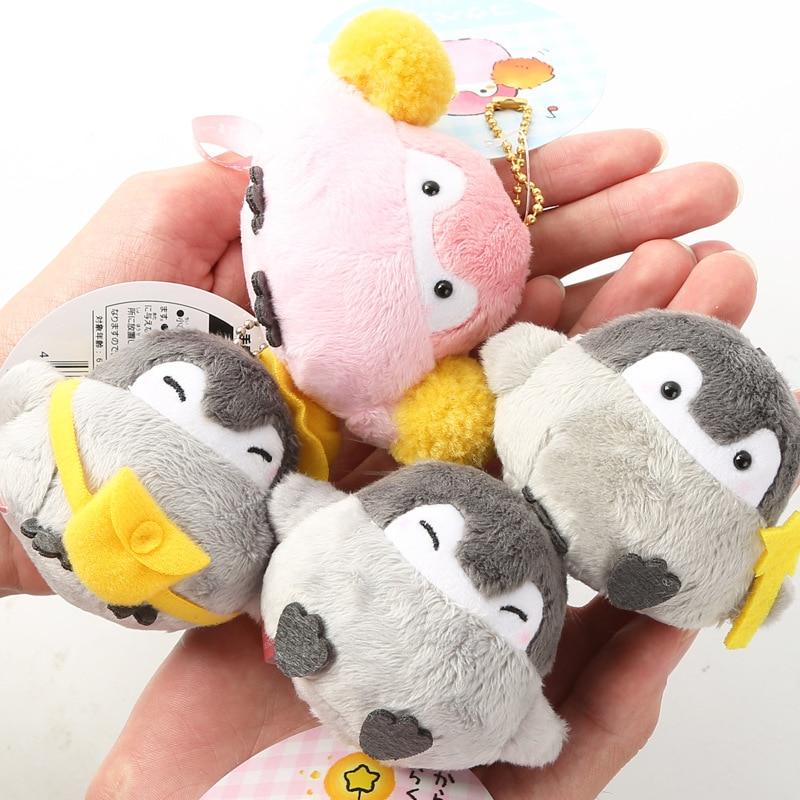 Positive Energy Penguin Plush Keychain Girls Bags Couples School Bags Pendant 6.5cm 4kinds Wj01