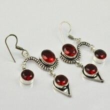 Garnets,  Silver Overlay on Copper Earrings, 65 mm , E2011