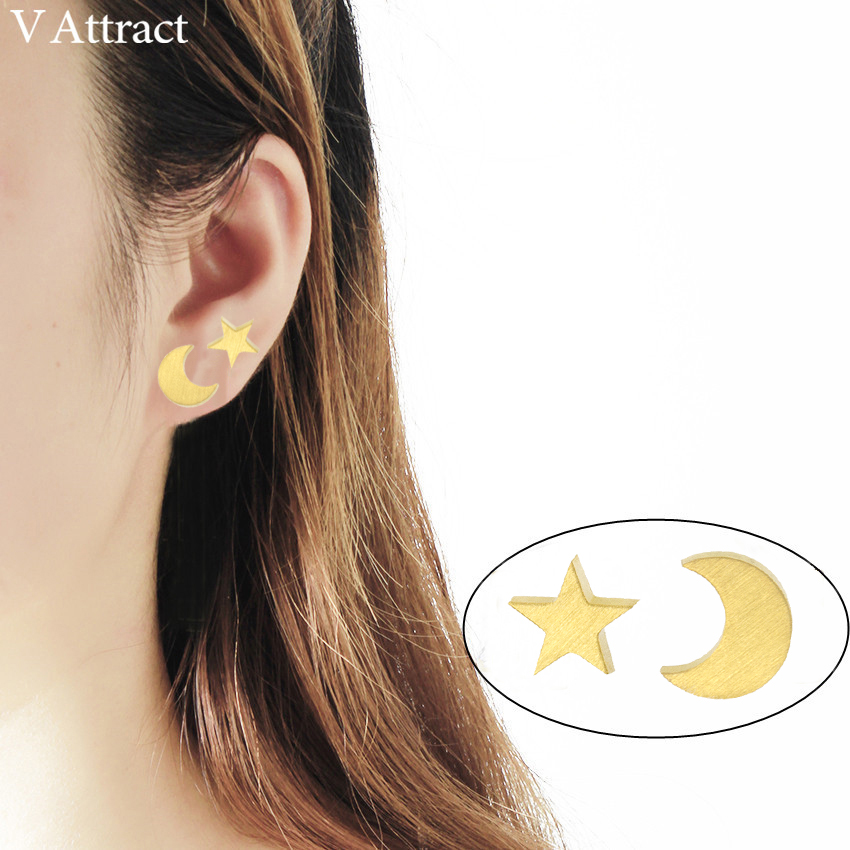 V Attract 10pair Stainless Steel Simple Star and Moon Stud Earrings Gold Mini Jewelry Brincos Bijoux Femme <font><b>BFF</b></font> Gift image