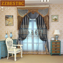 European luxury villa velvet embroidered Curtains for Living Room high quality Classic custom Curtain Bedroom upscale hotel