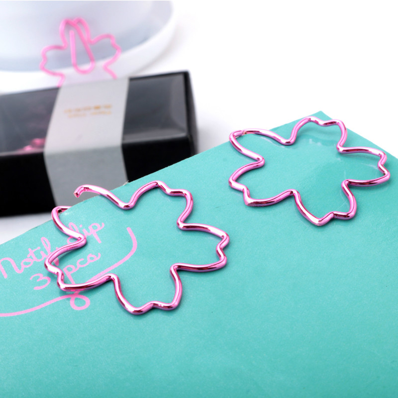 Bookmark Purple Pink Paperpaper Needle Metal Paper Clip Chinese Style Sakura Paper Clips