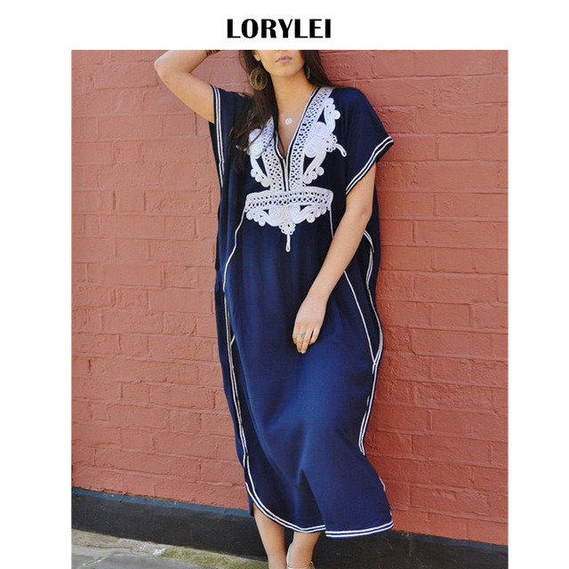 Plus Size Women Summer Tunic Beach Wear Swimsuit Cover Up Fashion Navy Blue  Cotton Side Split Embroidery Kaftan Beach Dress N660 f4900c278270