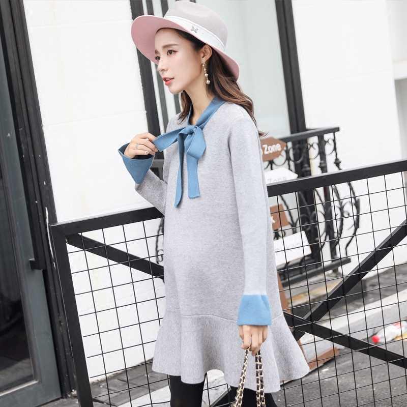 Средства ухода за кожей для будущих мам Платья для женщин лук одежда зима густая шерсть для беременных свитер милые свободные Осенне-зимняя обувь