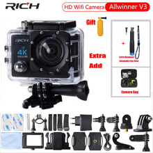 RICH Sport camera 30M 2.0 inch LCD 4k Action Cam 4K camera 16M WIFI Camra Deportiva Extra Aluminum Extendable Pole Stick+bag