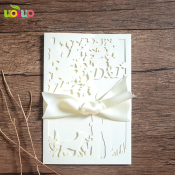 DIY customzied inc152 fold Laser Cut free logo couple Wedding invitations Card,metallic printing card,tied bow,envelope seal