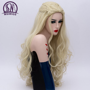Image 5 - MSIWIGS 2 Colors Long Silver White Curly Wigs Cosplay Synthetic Blonde Braided Wig for Women Natural Braid Hair Heat Resistant