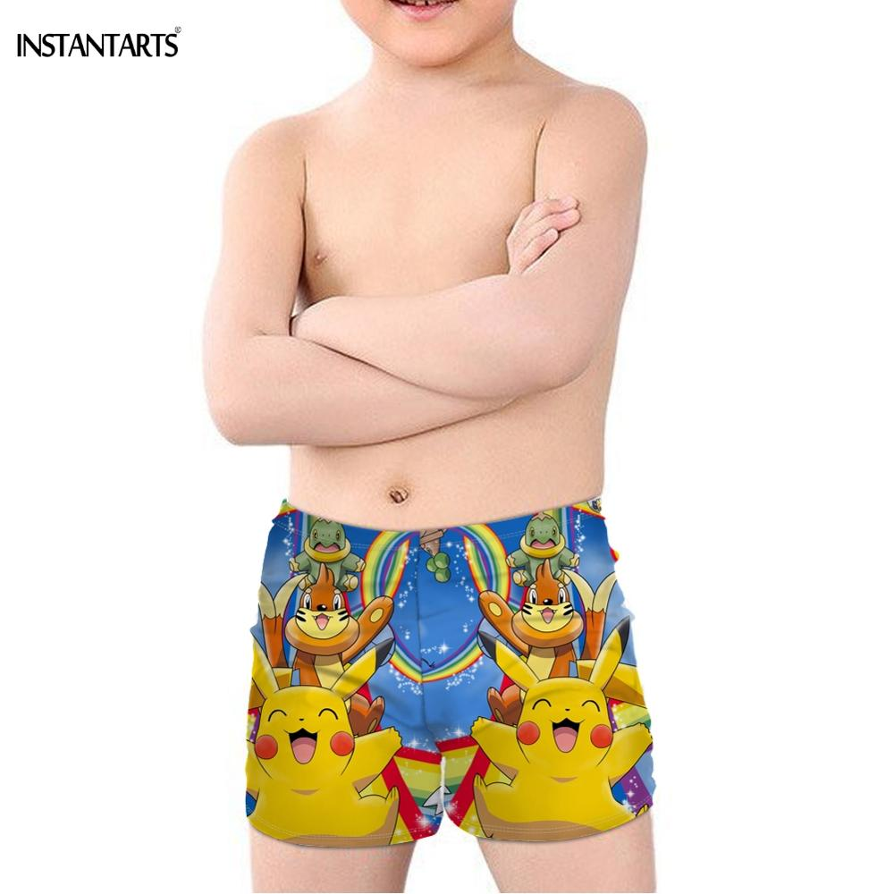 INSTANTARTS 2019 New Cute Cartoon Pokemon Pikachu Print Kids Boys' Swimming Trunks Summer Beachwear Children Swimsuits Elastic