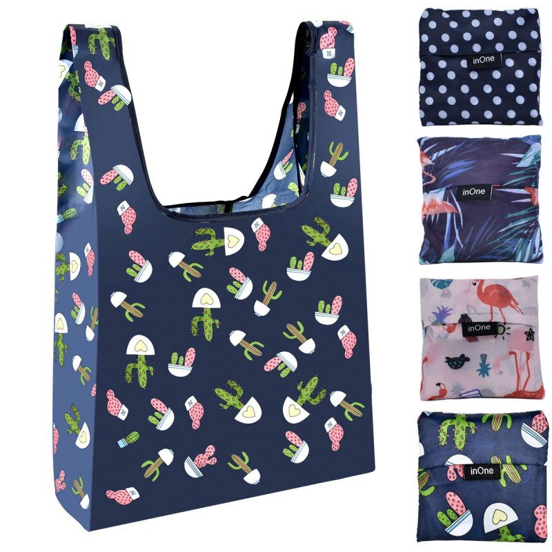 INONE 2019 Women Foldable Eco Shopping Bag Tote Pouch Portable Reusable Grocery Storage Bag Cactus Flamingo Dots Free Shipping