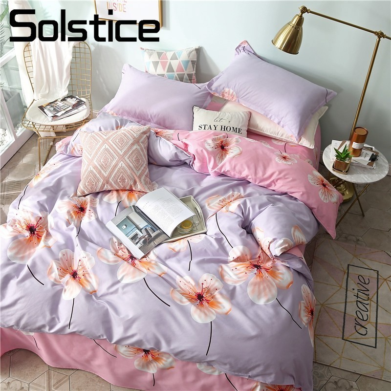 Solstice Home Textile King Queen Full Twin Bedding Sets Girl Kid Teen Bedlinen Pink Gray Flower Duvet Cover Pillowcase Bed Sheet