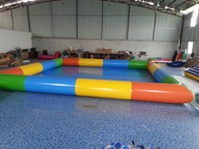 Commercial colorful swimming pool square shape inflatable PVC with free air blower and shipping by express to door