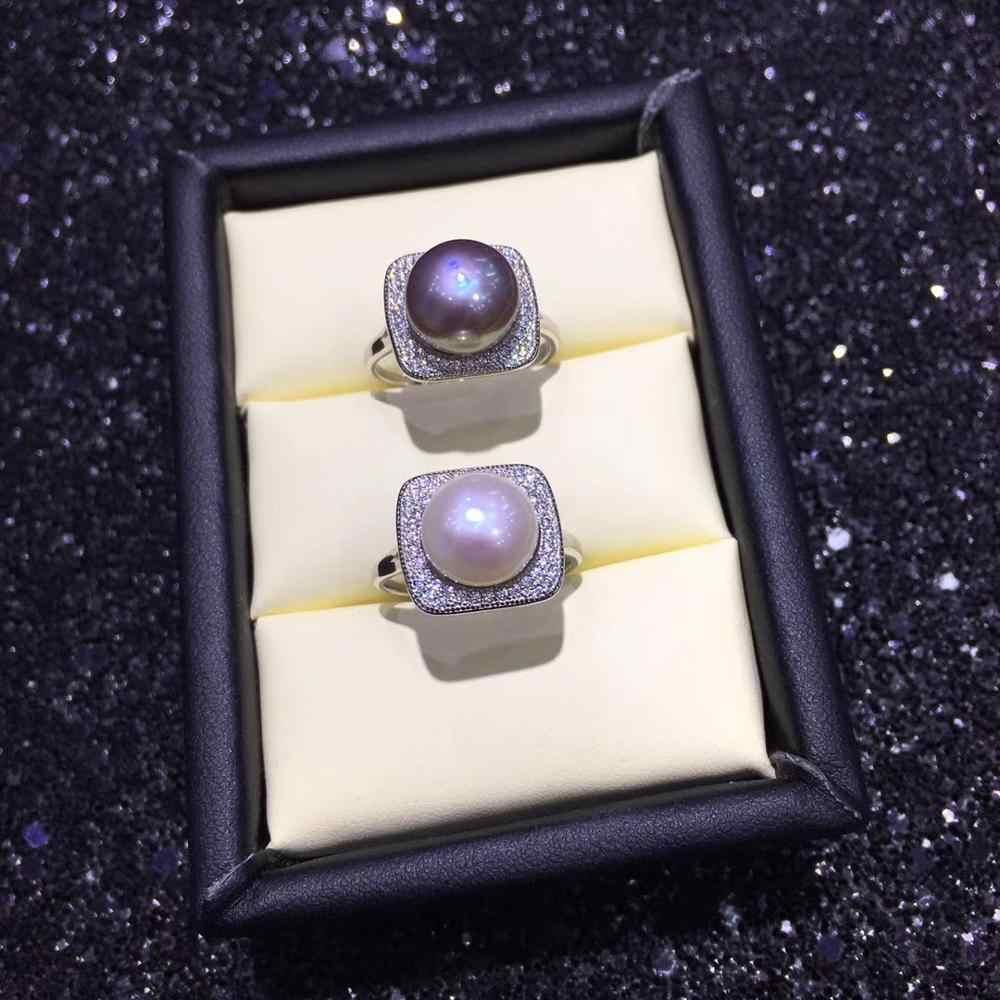 ZHBORUINI Новое Ювелирное кольцо с жемчугом серебро 925 пробы для женщин натуральный пресноводный жемчуг Циркон Квадратные Кольца оптовая продажа