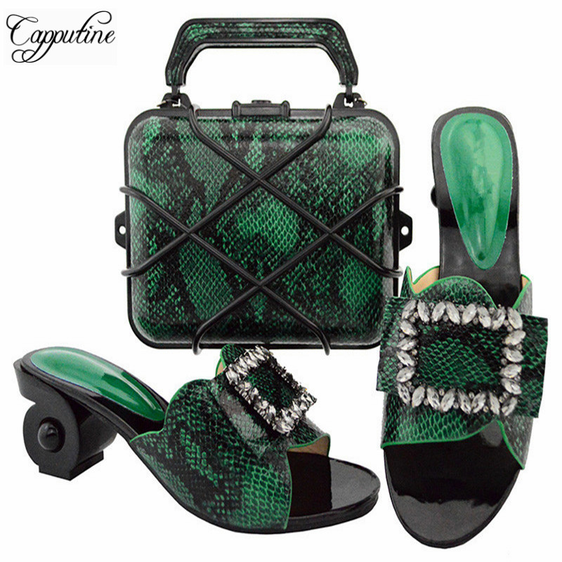 Capputine Green Color Italian Shoe With Matching Bag For Party High Quality African Women Pumps Party Shoes And Bag Set GL02 black color women high heels pumps african shoes and matching bags italian italy shoe and bag set to match for party 66077