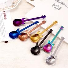 Tea-Spoon Guitar Stainless-Steel Flatware Drinkware Spoons-Rainbow-Coffee Long-Handle