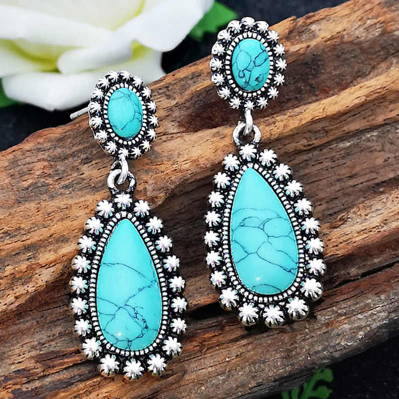 Fashion Vintage Tibetan Silver Natural Turquoises Earring Blue Stone Water Droplets Dangle Earrings for Women Boho Jewelry 2019