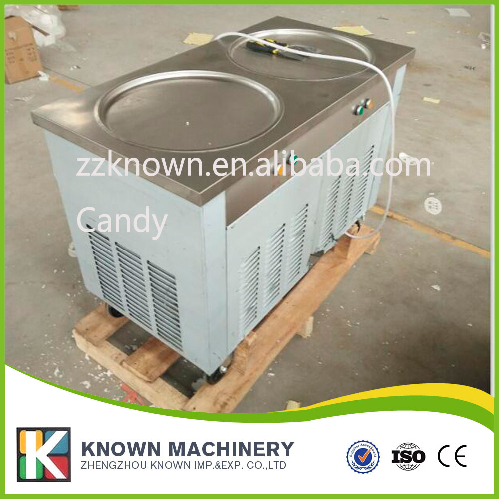 double pan ice roll machine with round pans frying ice creams provide recipes (free ship by sea)  family car with a refrigerator for ice creams bottle drinks free shipping by sea