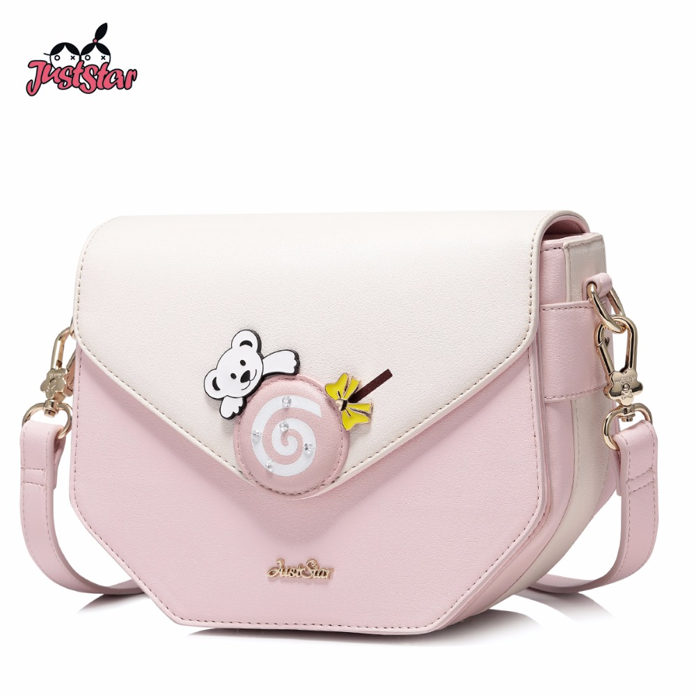 JUST STAR Women's PU Leather Messenger Bags Ladies Fashion Lollipop Shoulder Purse Female Cartoon Bear Crossbody Bags JZ4543